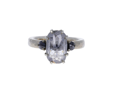 Oval Gray Rustic Diamond Ring
