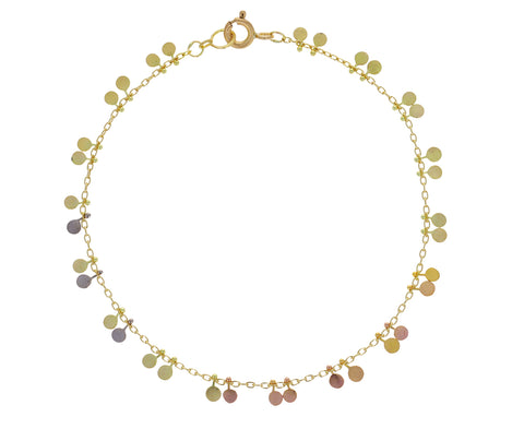 Rainbow Gold Tiny Double Dots Bracelet
