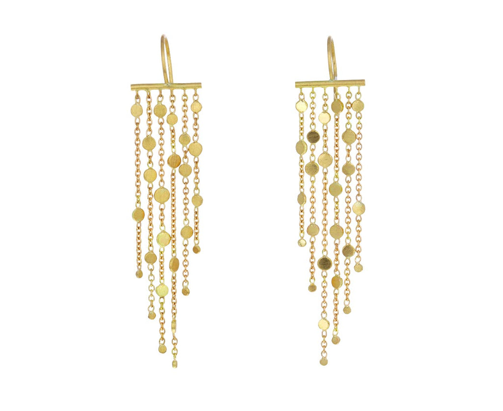 Gold Six Strand Falling Dust Earrings