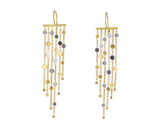 Gold and Platinum Six Strand Falling Dust Earrings