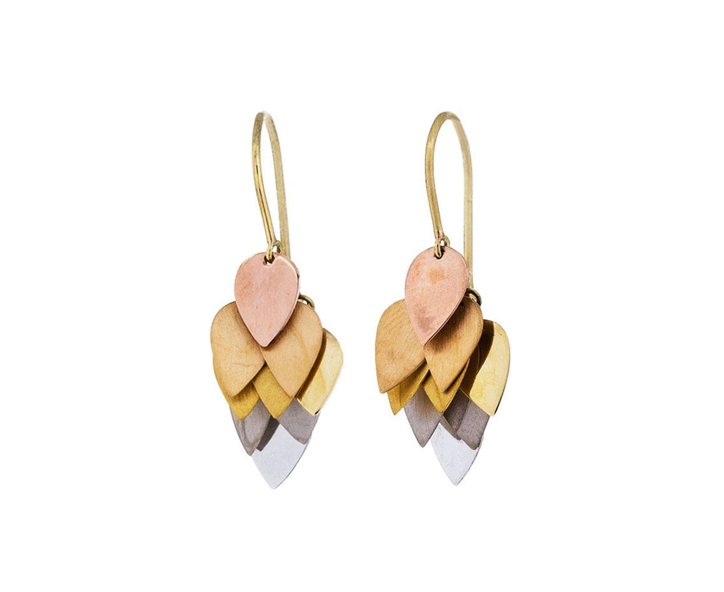 Gold and Platinum Petal Cluster Earrings - TWISTonline