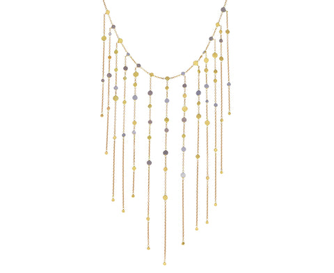 Gold and Platinum Dust Drift Fringe Necklace