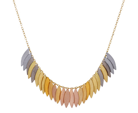 Rainbow Gold Leaf Arc Necklace