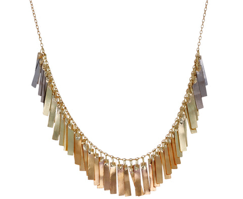 Rainbow Gold Sunset Fringe Arc Necklace