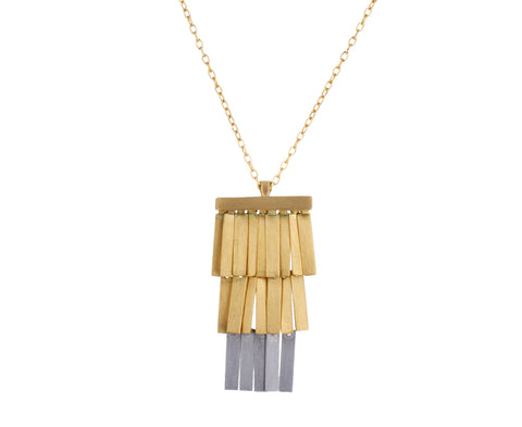 Platinum and Gold Moonlight Fringe Necklace