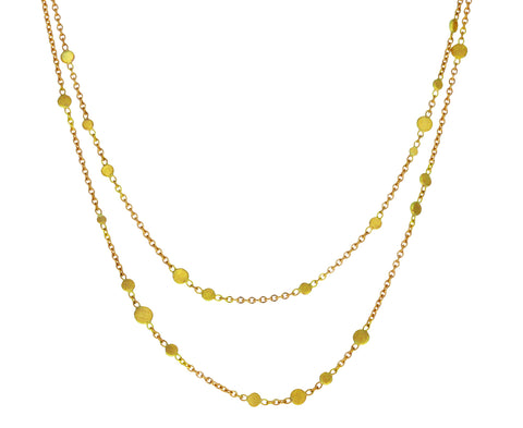 Gold Scattered Dust Double Chain Necklace