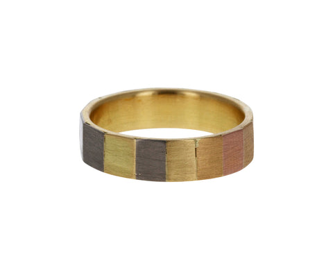 Large Rainbow Gold Faceted Band