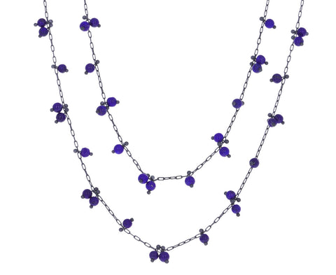 Long Lapis Beaded Necklace