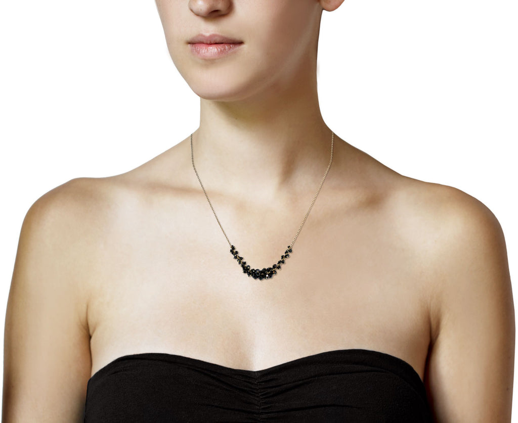 Black Diamond Cluster Necklace