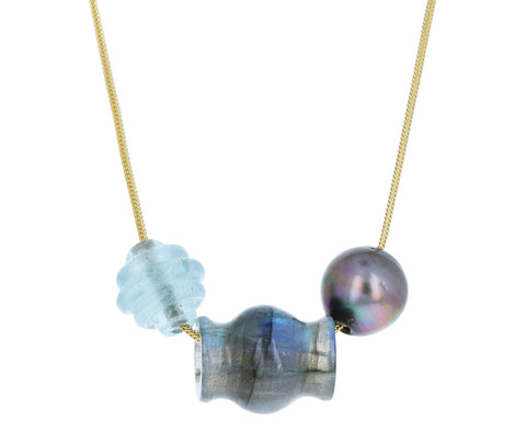 Pearl, Labradorite and Aquamarine Trade Bead Necklace - TWISTonline
