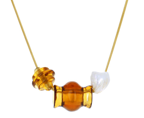 Citrine and Pearl Trade Bead Charm Necklace - TWISTonline