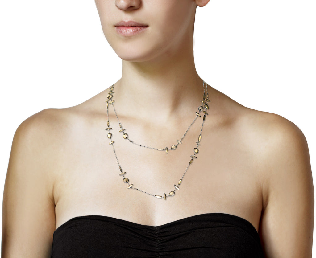 Long Silver Double Cross Chain Necklace