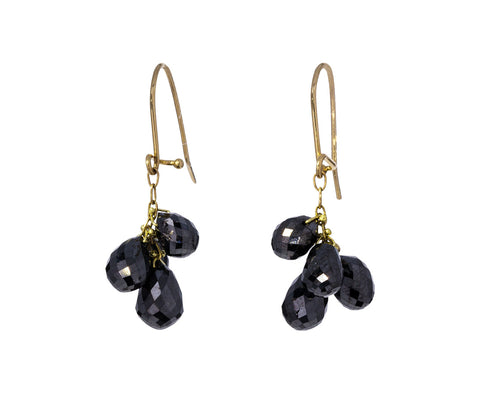 Black Diamond Briolette Cluster Earrings - TWISTonline