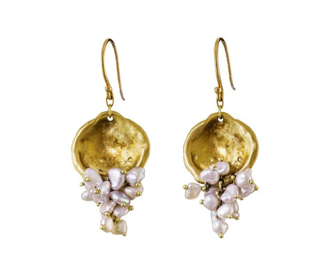 Gold Oyster and Pearl Earrings  zoom 1_ten_thousand_things_designer_gold_oyster_pearl_e