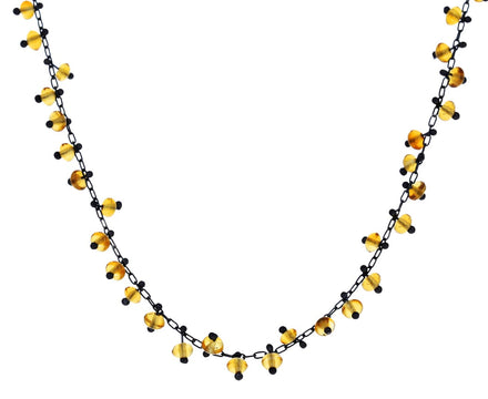 Beaded Citrine Choker Necklace