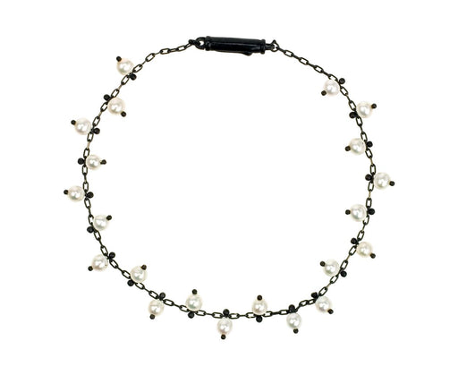 Studded Pearl Bracelet on Black - TWISTonline