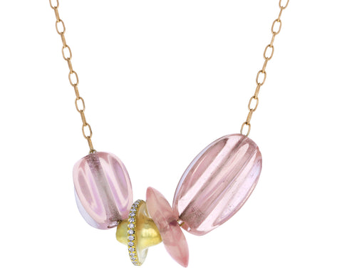 Rose Quartz Diamond Gold Trade Bead Necklace