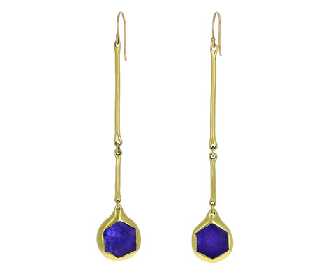 Tanzanite Long Cast Line Earrings