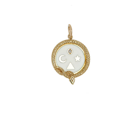 White Enamel Wholeness Pendant ONLY