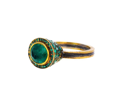 Oval Emerald with Emerald Pavé Ring