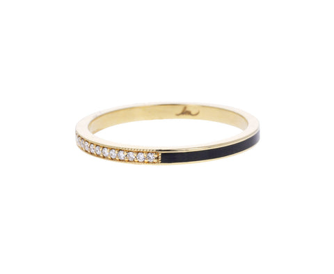 Black Enamel and Diamond Pavé Stacking Band
