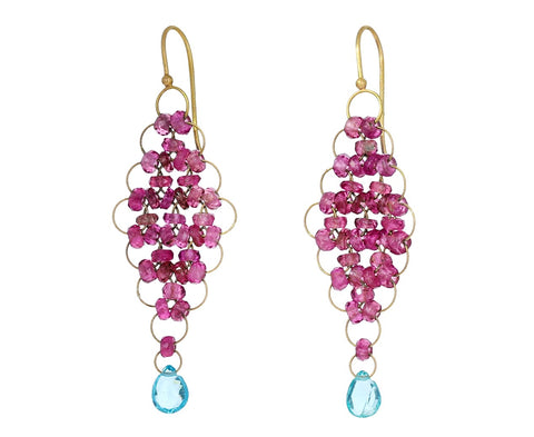 Pink Tourmaline and Apatite Kite Earrings