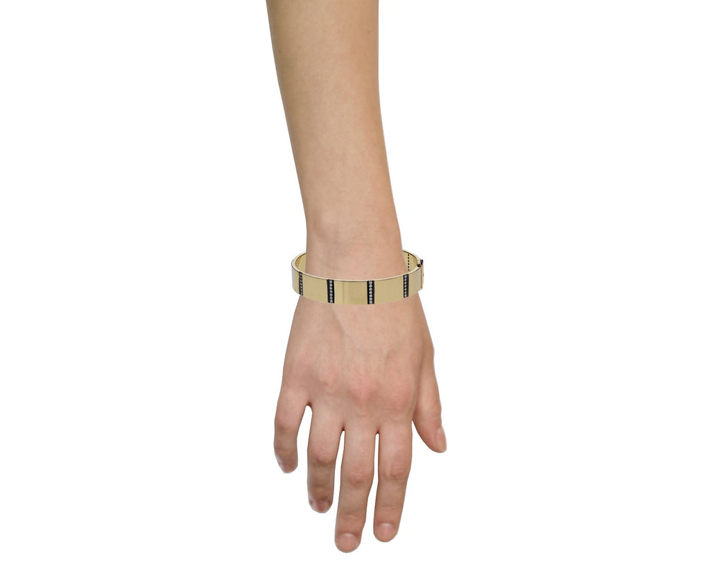 Gold and Diamond Line Bangle Bracelet - TWISTonline