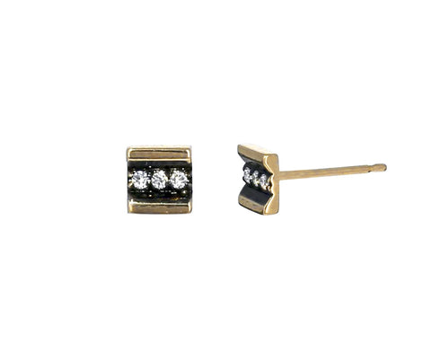 Diamond Striped Stud Earrings - TWISTonline