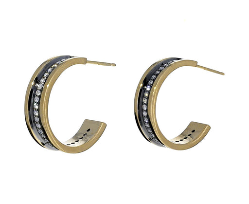 Gold and Diamond Line Hoops - TWISTonline