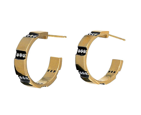 Diamond Striped Gold Hoops - TWISTonline