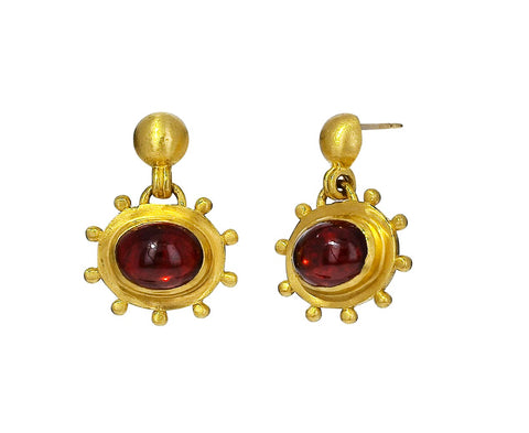Granulated Garnet Drop Earrings - TWISTonline