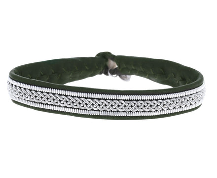Thin Olive Green Leather and Braided Pewter Bracelet