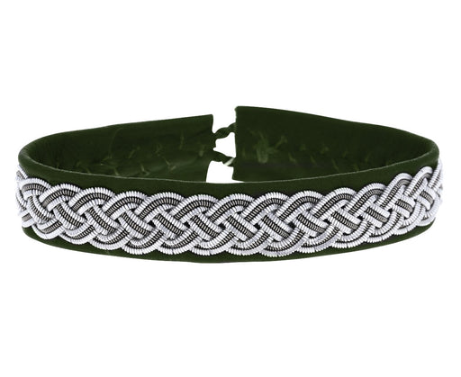 Olive Green Pewter Braided Leather Bracelet