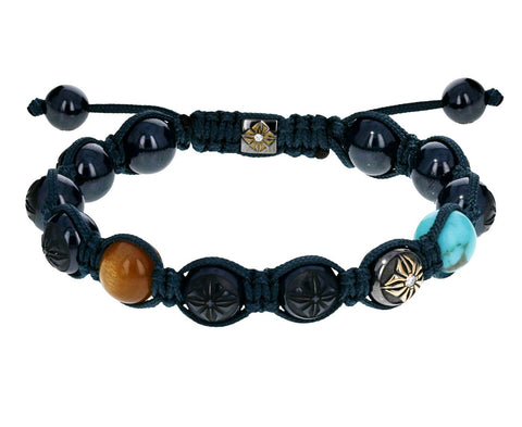 Blue Ceramic, Turquoise and Golden Moonstone Beaded Bracelet