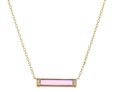 Pink Sapphire and Diamond Otto Bar Necklace