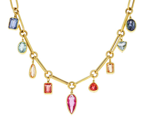 Tourmaline and Topaz Dangling Gem Necklace