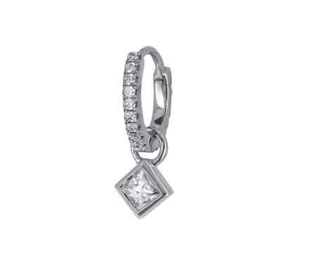 White Gold and Princess Cut Diamond Charm ONLY