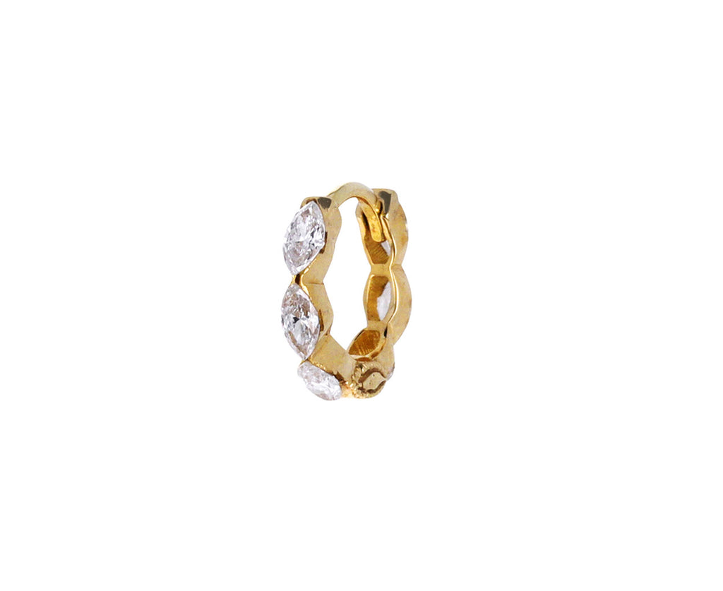"1/4"" Yellow Gold Invisible Set Marquise Diamond Eternity SINGLE Hoop"