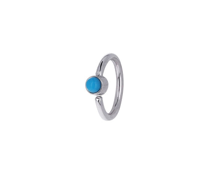1/4 White Gold Turquoise Fixed Bead SINGLE Hoop