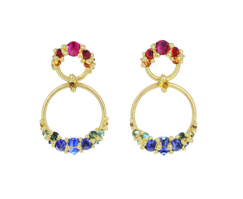 Rainbow Sapphire Lynx Earrings