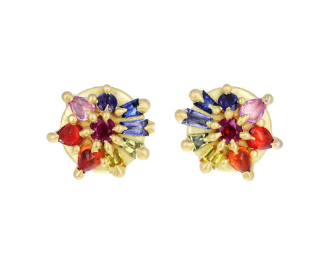 Rainbow Sapphire Lotus Dome Earrings