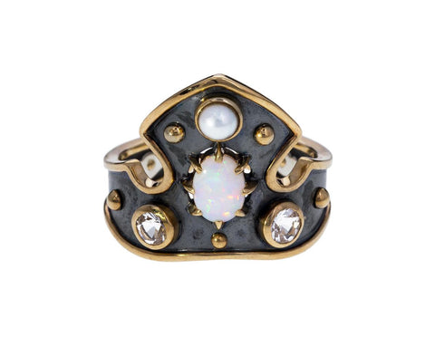 Blason Shield Ring with Opal Pearl Topaz - TWISTonline
