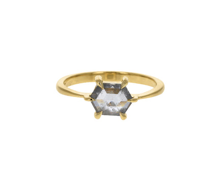 Salt and Pepper Eva Hexagon Diamond Solitaire