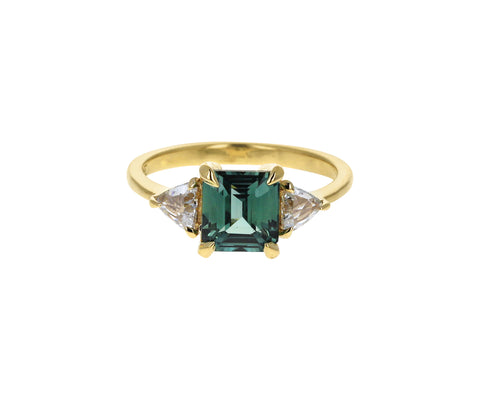 Green Sapphire and Diamond Zara Solitaire