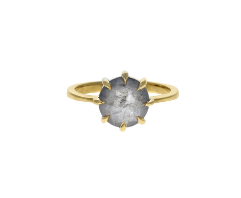 Round Rose Cut Gray Diamond Solitaire