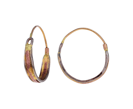 Mixed Gold Linear Hoop Earrings