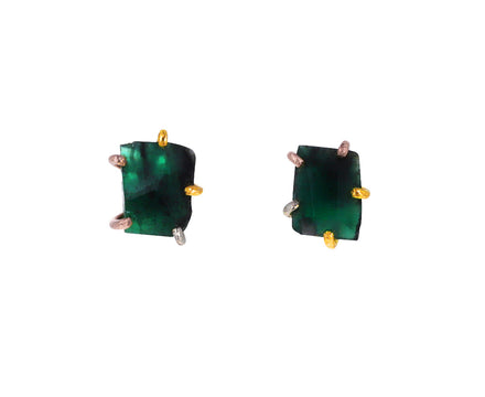 Large Brazilian Emerald Stud Earrings