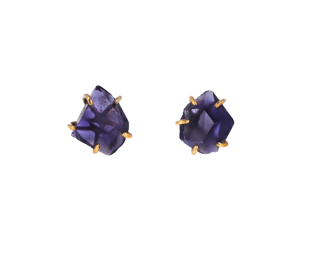 Small Iolite Stud Earrings
