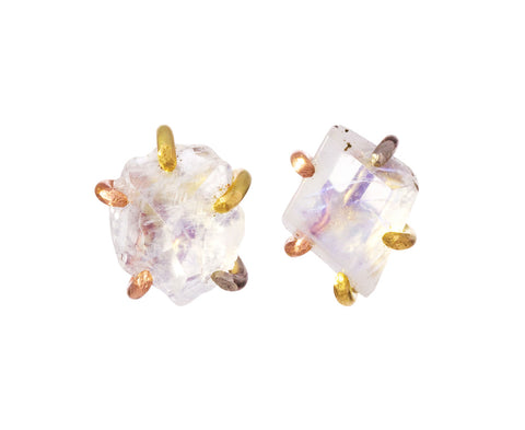 Large Rainbow Moonstone Stud Earrings
