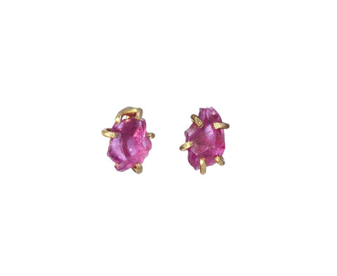 Pink Ruby Claw Earrings zoom 1_variance_objects_gold_ruby_earrings